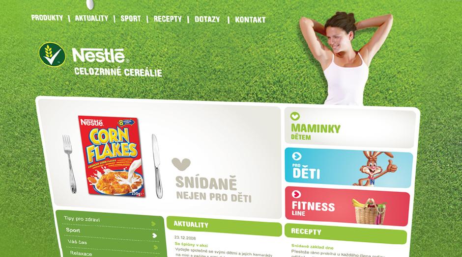 Nestlé cereálie webdesign